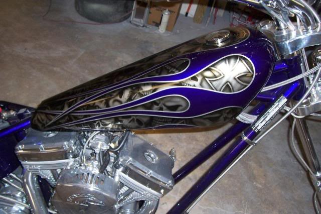 custom painted iron horse chopper flames skulls