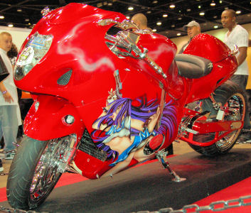 , AIR BRUSHING custom 300 fat tire SUSZUKI hayabusa jp customs paint