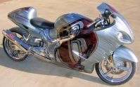 SILVER CHROME RED RUFF RYDER HAYABUSA CUSTOM PAINT JOB AIR BRUSHED